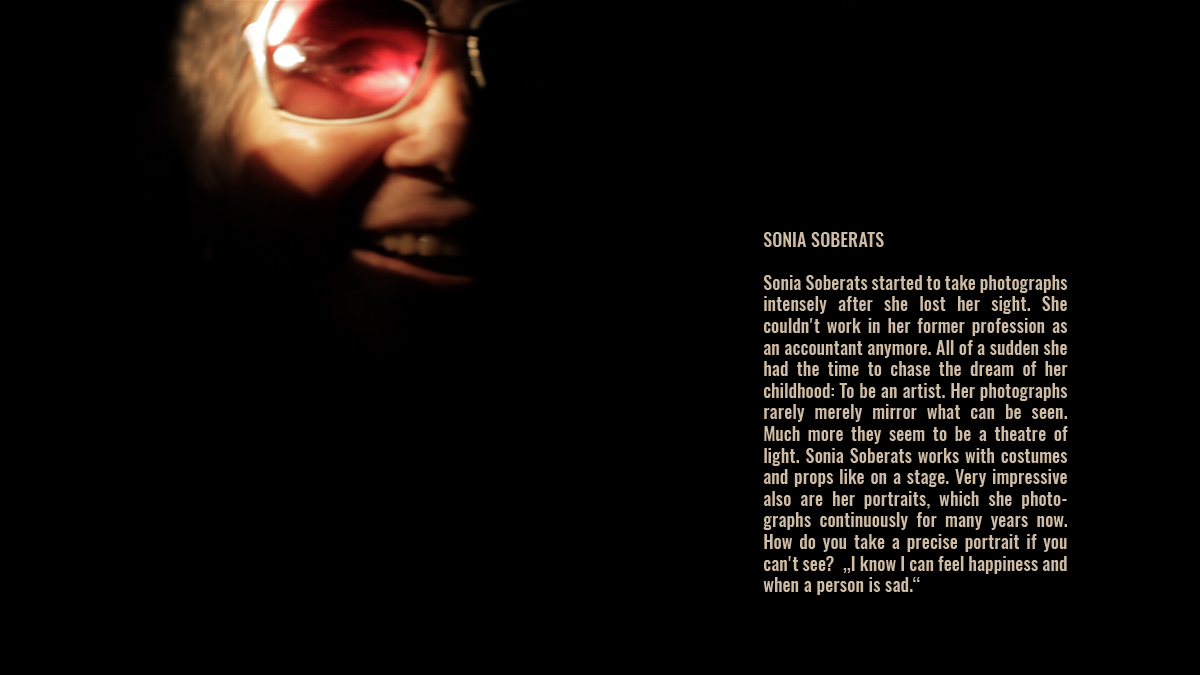 Sonia Soberats wearing pink glasses