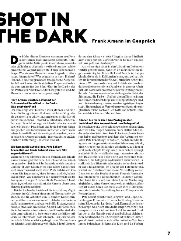Text des Filmgespräches mit Frank Amann zum Film Shot in the Dark, Seite 1